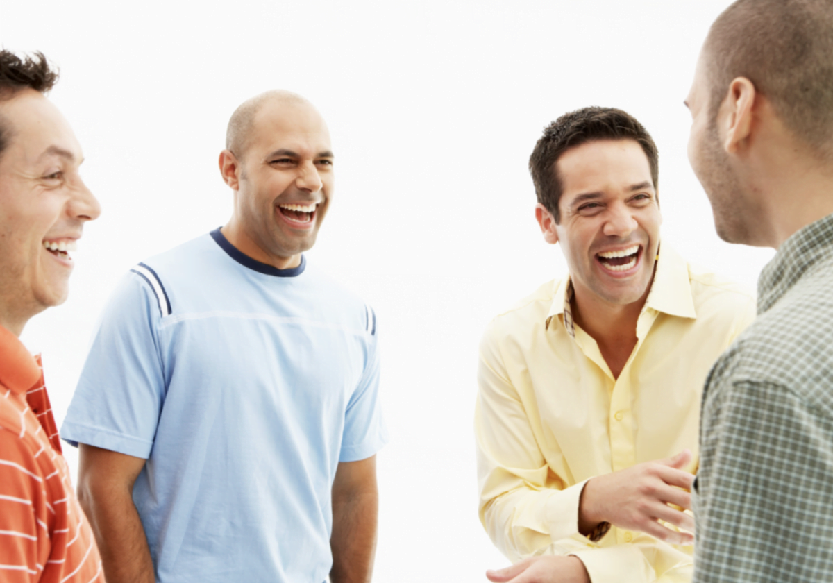 Men laughing together